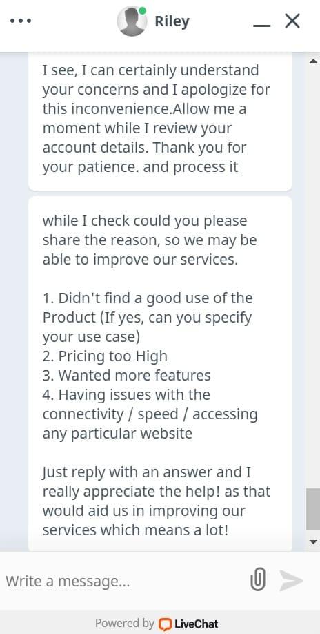 PureVPNの解約・返金手続き3