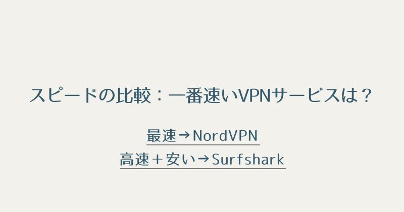 おすすめのVPNサービス:スピード比較