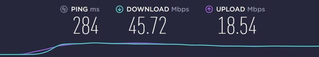 フィンランドから日本のサーバーに接続した結果