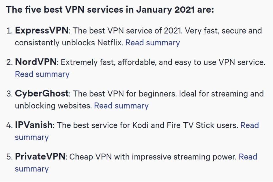 VPNのランキングでExpressVPNはダントツ上位5